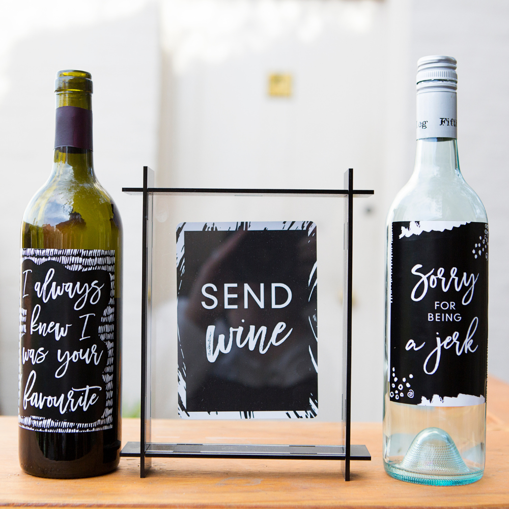 Wine Labels - Pack of 8 wine labels to adhere to wine bottles as gifts - Seriously Milestones